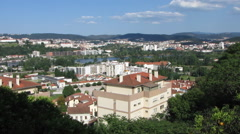 HD: New city Tomar with river Nabao, Portugal Stock Footage