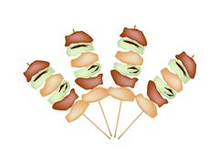 Stock Illustration of Yakitori Negima or Japanese Grilled Food on Skewers