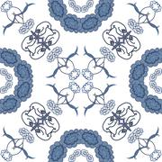 Seamless floral background, blue symbolical silhouette flowers on white. Vector - stock illustration
