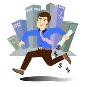 businessman running with project paper in hand - stock illustration