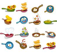 Frying pans with tasty food Stock Illustration