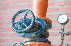 Pipe, valve, flange, iron pipe, slide Stock Photos