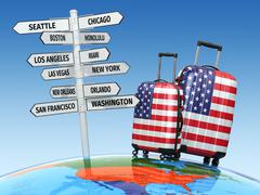 Travel concept. Suitcases and signpost what to visit in USA - stock illustration