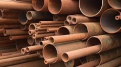 Rusty metal, iron, long bunch set pipes in several different diameters together Stock Footage