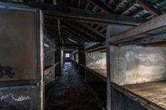 Inside of a barracks of the Nazi concentration camp Auschwitz Birkenau Stock Photos