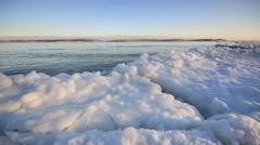 Frozen beach of Lake Ontario in Toronto Stock Footage