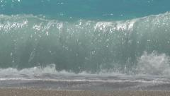 Summer time, vacation view. Sparkling waves flowing on the beach. Ionian sea. Stock Footage