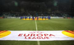 KYIV, UKRAINE - DECEMBER 15, 2010: Official UEFA Europa League banner at the  Stock Photos