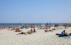 Stock Photo of Crowded Municipal beach in Gdynia, Baltic sea, Poland