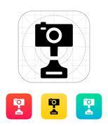 Digital camera icon on white background - stock illustration
