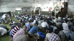 Muslims praying in Mosque in Cairo 3 - stock footage