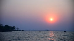 Sunset sky at sea in winter season, Sriracha, Chonburi, Thailand Stock Footage