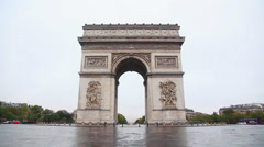 Arc de Triomphe de l'Etoile (The Triumphal Arch) in Paris in the morning Stock Footage