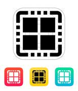 Quad Core CPU icon. Vector illustration - stock illustration
