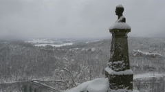 Old Statue at Lichteinstein Castle in Germany Stock Footage