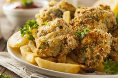 Homemade Breaded Fried Oysters - stock photo