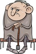 Grumpy old man cartoon illustration Stock Illustration