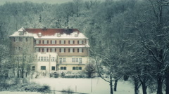 German Manor In Snowy Forest Stock Footage