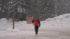 Sports & fitness, back-country skier walking with skis Stock Footage