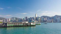 4k timelapse video of the Victoria Harbour and ferry terminal in Hong Kong Stock Footage