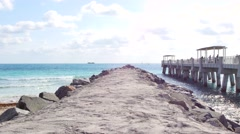 Miami Beach new fishing pier 4k Stock Footage