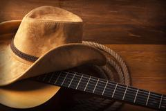 Country music background with guitar Stock Photos