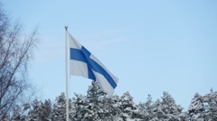 Flag Of Finland Waving On sky Background Stock Footage