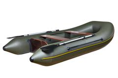 Inflatable rubber boat made of PVC, two-seat, twin, with oars. - stock photo