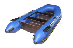 Blue inflatable boat with oars, plywood deck and seats. Stock Photos