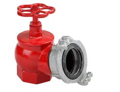 Iron hydrant valve with socket for connection of fire hose. Stock Photos