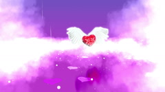 Heart with wings in Paradise Stock Footage