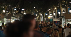 video down the busy Las Ramblas shopping street in Barcelona Stock Footage