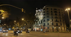 video of the Gaudi designed Casa Batlló in Barcelona at night Stock Footage