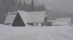 abandoned gas station and hotel snow covered, Rogers Pass, #2 - stock footage