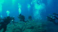 Divers swimming over coral reef in ocean Stock Footage