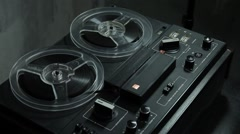 Ungraded: Reel-To-Reel Tape Recorder Plays Record Stock Footage