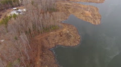 Flying along Side a Lake Stock Footage