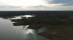 Slow Pan of the Distant Horizon over a Lake Stock Footage