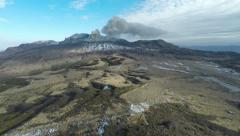Aerial Footage Of Volcanic Eruption At Aso Volcano Stock Footage