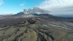 Aerial Footage Of Volcanic Ash Eruption At Aso Volcano Stock Footage