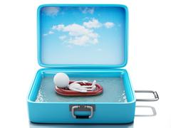 Stock Illustration of 3d white people in a travel suitcase. beach vacation