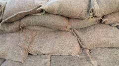 Close Up Flood Protection Sandbag Wall dolly shot Stock Footage