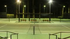 Tennis Match Night Timelapse Court Stock Footage