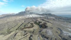 Aerial Footage Erupting Aso Volcano In Japan Stock Footage