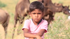 Video 1920x1080 Indian boy and camels attended the annual Pushkar Camel Mela Stock Footage