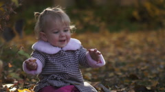 Little Girl Smile in Fall Stock Footage