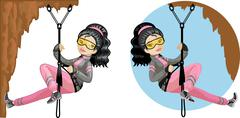 Cute young Asian woman mountaineer - stock illustration
