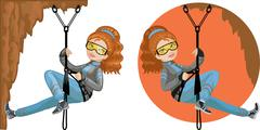Stock Illustration of Cute young Caucasian woman mountaineer