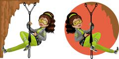 Stock Illustration of Cute young Indonesian woman mountaineer