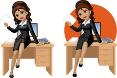 Cute young Indonesian office woman sitting on table - stock illustration